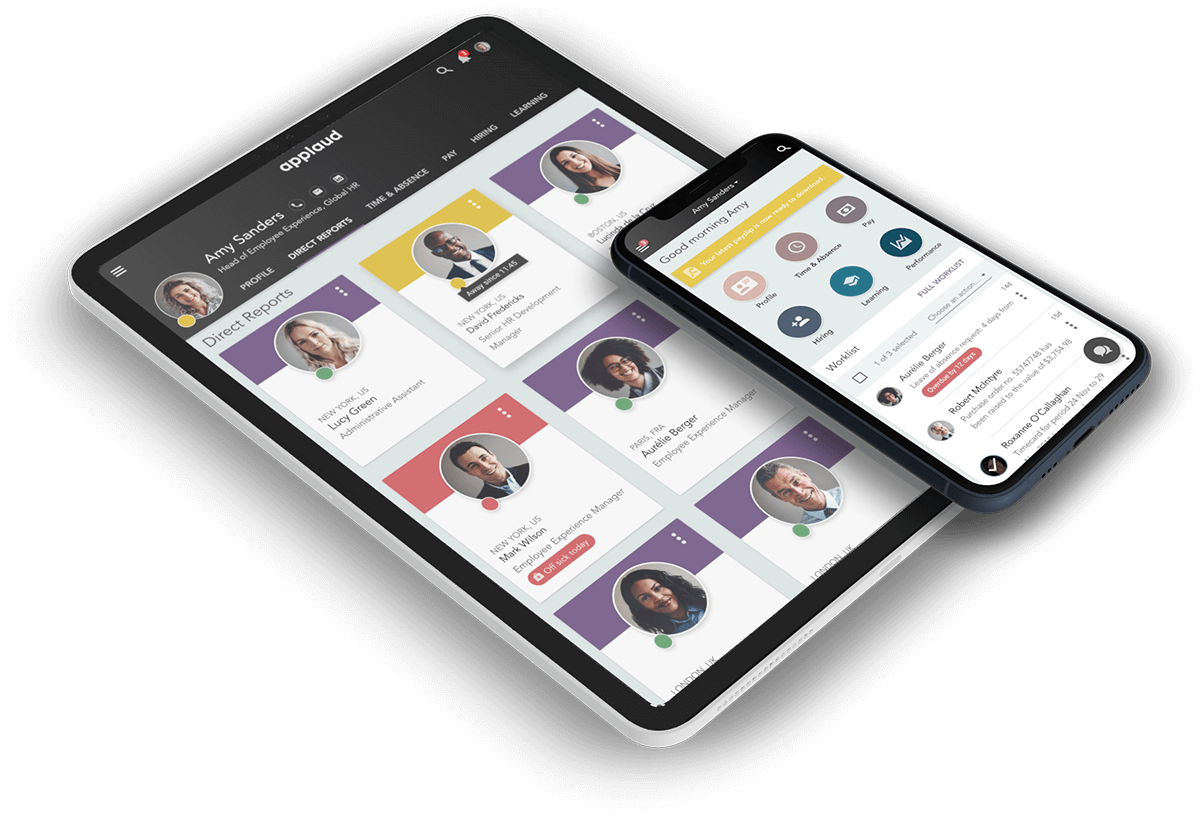 Applaud employee experience platform shown on iPhone and iPad